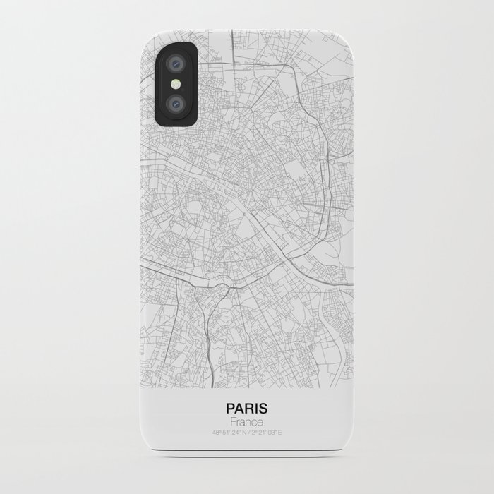 Paris France Minimalist Map Iphone Case By Resfeber Society6