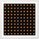 White stars orange flowers grid by stephobrien