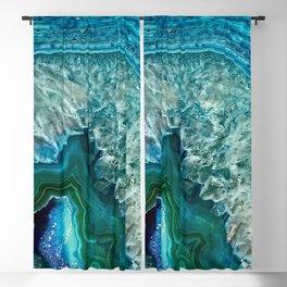 Aqua turquoise agate mineral gem stone Blackout Curtain