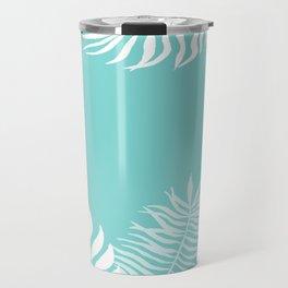 Tropical Leaves White Rainforest Palm Beach Cottage Decor Travel Mug