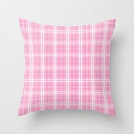 Bright Chalky Pastel Magenta Tartan Plaid Throw Pillow
