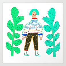Women and cactus. Art Print
