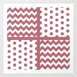 Rose Gold/White Chevron/Polkadot Style B Pattern Texture Zigzag #BuyArt #ArtofGaneneK Art Print