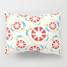 Summer Swimmers in Blue on Yellow | Floats | Life Savers | pulps of wood Pillow Sham