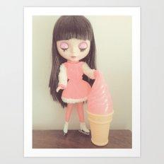sakura screams for ice cream Art Print