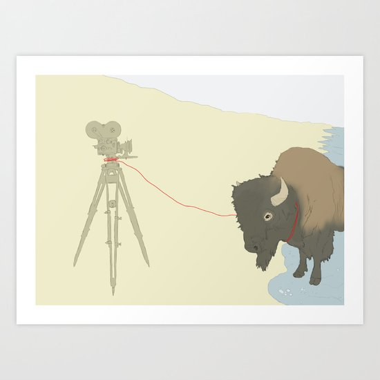 Bison & Camera Art Print