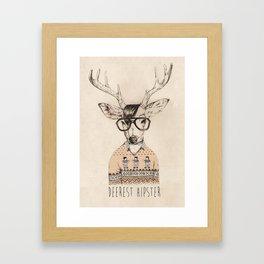 Deerest hipster Framed Art Print