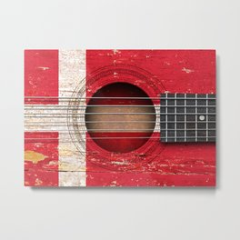 Old Vintage Acoustic Guitar with Danish Flag Metal Print