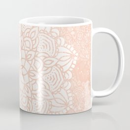 Seashell Mandala Coral Pink and White by Nature Magick Coffee Mug