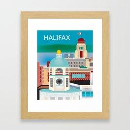 Halifax, Nova Scotia, Canada - Skyline Illustration by Loose Petals Framed Art Print