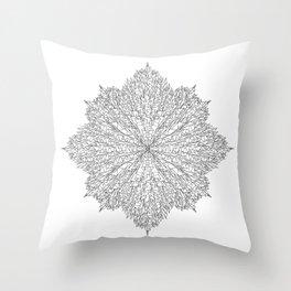 flower line art - white Throw Pillow