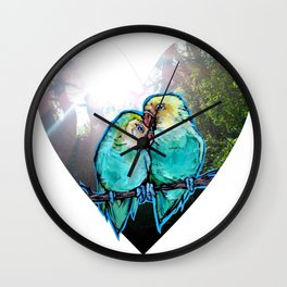 Now At Last...We Found Love - lovebirds nature photo/painting collage Wall Clock