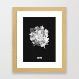 Rome, Italy Black and White Skyround / Skyline Watercolor Painting (Inverted Version) Framed Art Print