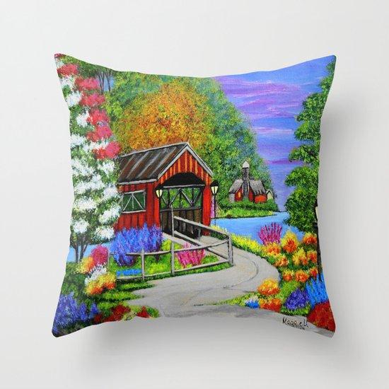 Covered bridge to town  Throw Pillow