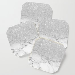 Modern faux grey silver glitter ombre white marble Coaster