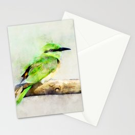 European Bee Eater Green Yellow Bird Wildlife Animal Watercolor Artsy Stationery Cards