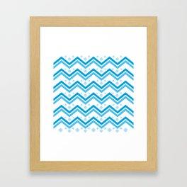 Blue wave geometric background. Ethnic style #society6 #decor #buyart #artprint Framed Art Print
