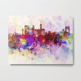 Jeddah skyline in watercolor background Metal Print