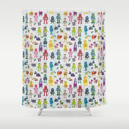 Robots in Space Shower Curtain