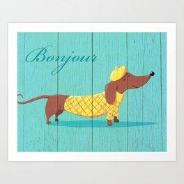 Bonjour Chiot Art Print