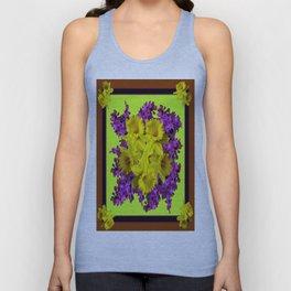 Chartreuse Design Daffodils Purple Hyacinths Brown Art Unisex Tank Top