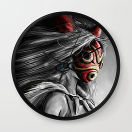 Miyazaki's Mononoke Hime Digital Painting the Wolf Princess Warrior Color Variation Wall Clock