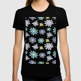teal, blue, yellow and grey flowers T-shirt