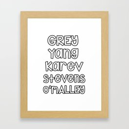 Grey Karev Yang Stevens O'malley Greys Anatomy Framed Art Print
