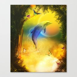 Colorful Dolphin Canvas Print