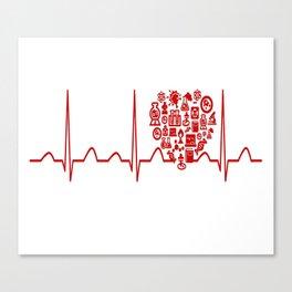 Chemistry Teacher Heartbeat Canvas Print