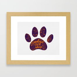 Adopt don't shop galaxy paw - purple and orange Framed Art Print