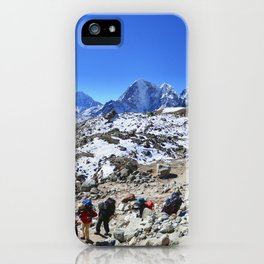 Trekking in Himalaya. Group of hikers  with backpacks   on the trek in Himalayas, trip  to the base  iPhone Case