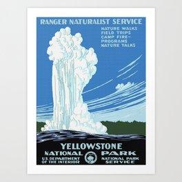 Vintage Yellowstone National Park Travel Art Print