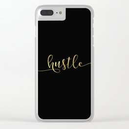 Hustle in gold Clear iPhone Case