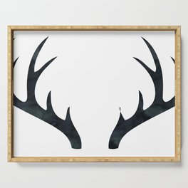 Antlers Black and White Serving Tray