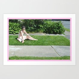 girl on a lawn Art Print
