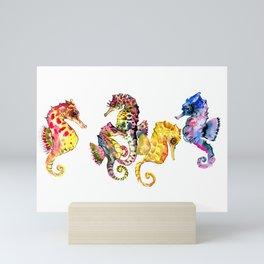Seahorses, coral reef animals art, children playing room design decor Mini Art Print