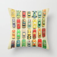sister Throw Pillows featuring Car Park by Cassia Beck