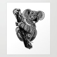 ornate Art Prints featuring Ornate Koala by BIOWORKZ