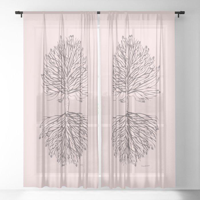 Tree Art. Hands Giving Hands Receiving 111-24CW3 Sheer Curtain