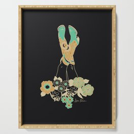 Love Stoned Cowboy Boots - Emerald, Cream, Black Serving Tray