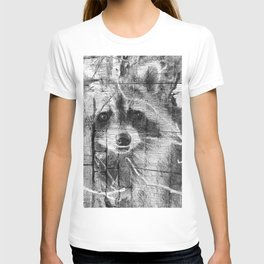 Black and white raccoon art T-shirt