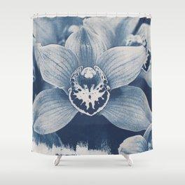 Iris in Blue Shower Curtain