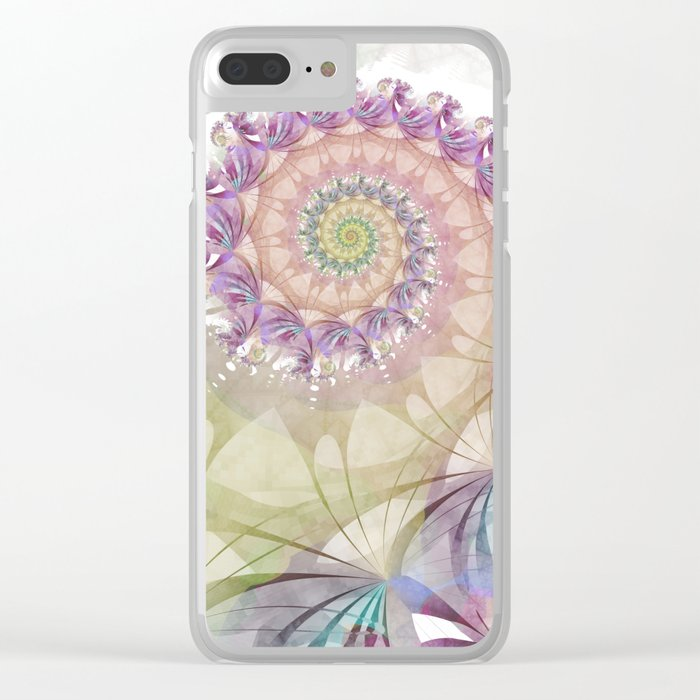 Watercolor Fibonacci Spiral Clear iPhone Case
