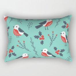 Christmas Birds & Winter Foliage Pattern Rectangular Pillow