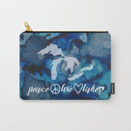 Michigan Peace Love Lakes In Deep Blue Carry-All Pouch