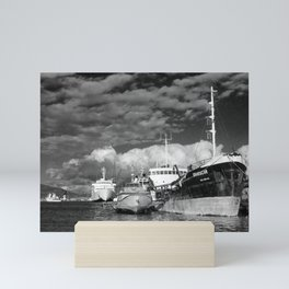 Ships at the harbor Mini Art Print