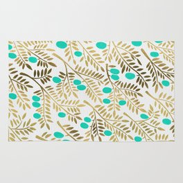 Gold & Turquoise Olive Branches Rug