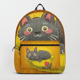 Cat Curled Up In a Bowl! Backpack