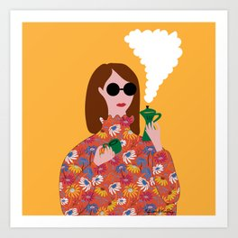 Girl with an Italian coffe maker // Fun everyday illustration Art Print